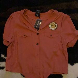 Jurassic park crop tied blouse